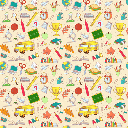Vector illustration  Vector illustration Back to school seamless pattern of kids doodles with bus, books, computer, blackboard and world map