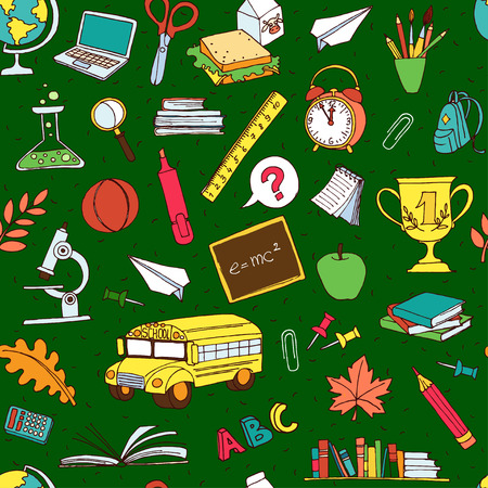 apple computers: Vector illustration  Vector illustration Back to school seamless pattern of kids doodles with bus, books, computer, blackboard and world map
