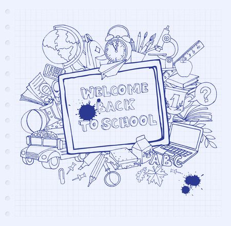 pensil: Vector illustration Notebook blackboard frame greeting card welcome back to school with accessories, globe, bus, meal, computer, roler, apple, pensil