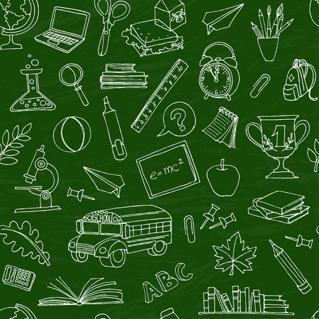 cartoon clock: Vector illustration  Back to school seamless pattern of kids doodles with bus, books, computer and world map on green blackboard Illustration