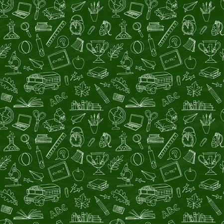 Vector illustration  Back to school seamless pattern of kids doodles with bus, books, computer and world map on green blackboard Vettoriali