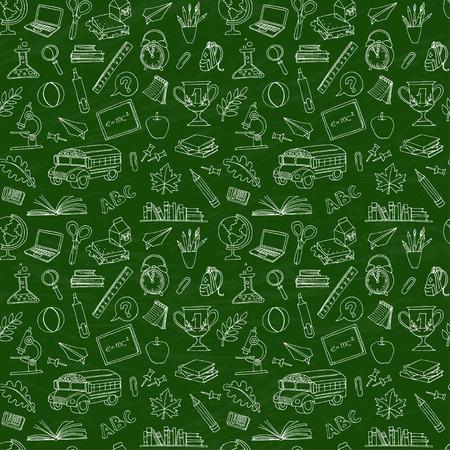 Vector illustratie Terug naar school naadloze patroon van de kinderen doodles met bus, boeken, computer en wereldkaart op groen bord Stock Illustratie