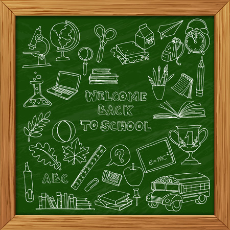 Vector illustration Back to school set of kids doodles with bus, books, computer and world map on green blackboard wooden frame