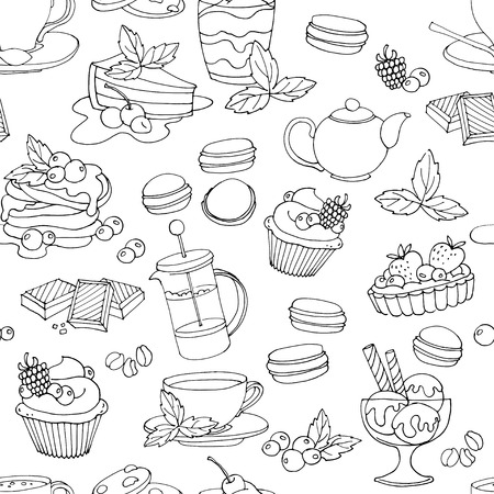 ice tea: Vector illustration Seamless pattern fresh desserts with coffee, tea, berry, ice cream, cupcakes and chocolate. Black and white Illustration