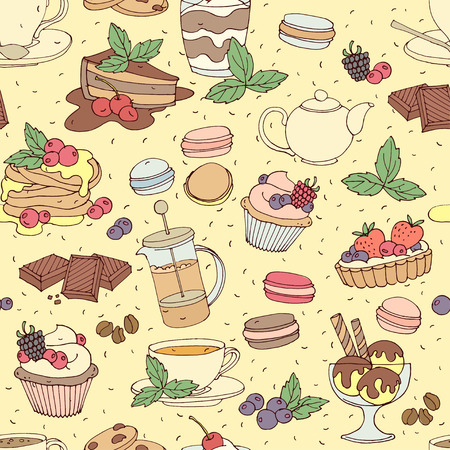 ice tea: Vector illustration Seamless pattern fresh desserts with coffee, tea, berry, ice cream, cupcakes and chocolate