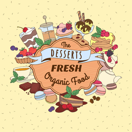 cup cake: Vector illustration Doodle vintage desserts frame. Cakes, ice cream and berries with wooden signboard and ribbon