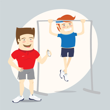 personal trainer: Vector illustration  Fitness personal trainer with stopwatch and funny sportsman doing pull-ups on sport bar Illustration