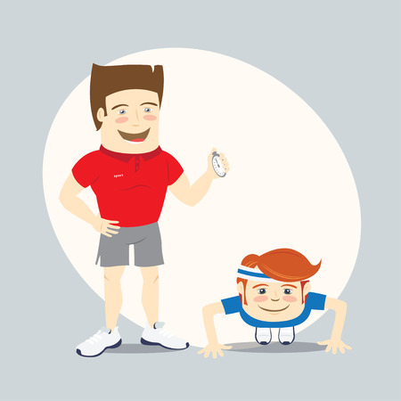 personal trainer: Vector illustration Fitness personal trainer and funny sportsman doing push-ups
