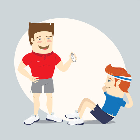 Vector illustration Fitness personal trainer and funny sportsman doing abs workout Illustration