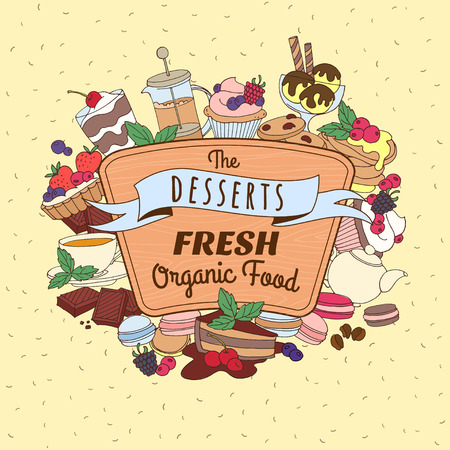 wooden signboard: Vector illustration Doodle vintage desserts frame. Cakes, ice cream and berries with wooden signboard and ribbon