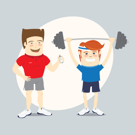 personal trainer: Vector illustration Fitness personal trainer and funny sportsman lifting barbell