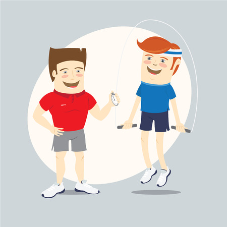 trainers: Vector illustration Fitness personal trainer and funny sportsman jumping with skipping rope