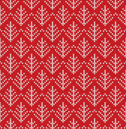 Vector illustration  Christmas Scandinavian flat style red knitted seamless pattern with snowflakes  イラスト・ベクター素材