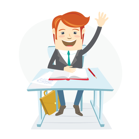 Vector illustration  Smiingl school student raising up his hand at the desk on the lessons in clasroom. Flat style Illustration