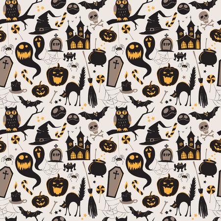Naadloos patroon van Vintage Happy Halloween vlakke pictogrammen. Scrapbook Halloween Elementen. Vector illustratie. Schattig Karakters Halloween.