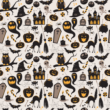 witch on broom: Seamless pattern Of Vintage Happy Halloween flat  icons. Halloween Scrapbook Elements. Vector illustration. Cute Halloween Characters.