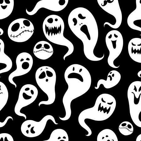 ghost face: Seamless pattern Of Vintage Happy Halloween flat  ghosts. Halloween Scrapbook Elements. Vector illustration. Cute Halloween Characters. Black and white Illustration