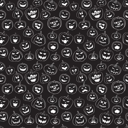 calabazas de halloween: Sin patrón de calabazas vintage Feliz Halloween. Víspera de Todos los elementos del libro de recuerdos. Ilustración del vector. Caracteres lindos de Halloween.