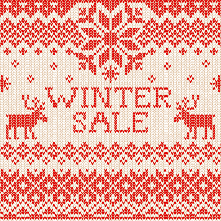 scandinavian winter: Vector illustration Winter sale: Scandinavian style seamless knitted pattern with deers. White and red colours. Flat style