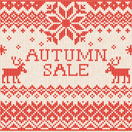 Vector illustration Autumn sale: Scandinavian style seamless knitted pattern with deers. Red and white colours. Flat style