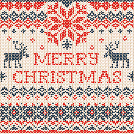 text background: Vector illustration Merry Christmas: Scandinavian or russian style knitted embroidery pattern with borders and deers. White, blue, red  colors. Flat style Illustration