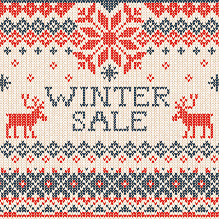 winter fashion: Vector illustration Winter sale: Scandinavian style seamless knitted pattern with deers. White, blue and red colours. Flat style