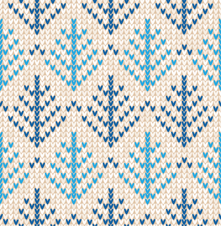 Vector illustration Christmas Scandinavian flat style white and blue knitted seamless pattern with trees (fir-trees)