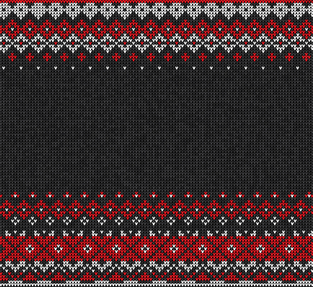 Vector illustration Scandinavian or Russian style knitted background with borders or frame.