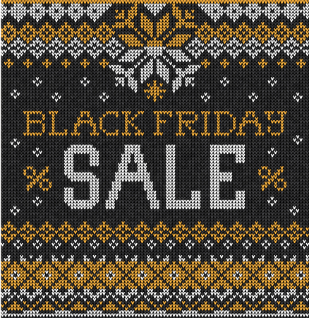 black yellow: Vector illustration Black Friday Sale: Scandinavian or russian style knitted embroidery pattern with borders. White, black, yellow  colors. Flat style