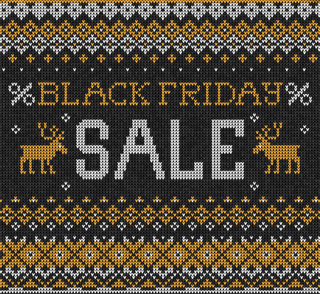 black yellow: Vector illustration Black Friday Sale: Scandinavian or russian style knitted embroidery pattern with borders and deers. White, black, yellow  colors. Flat style Vectores