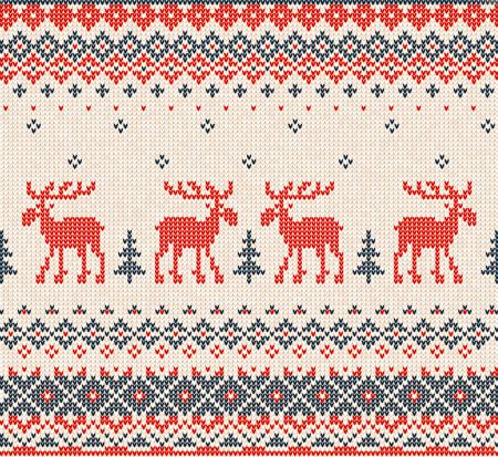 Vector illustratie Scandinavische of Russisch vlakke stijl gebreide patroon met herten (elanden, elanden) en Christmas Tree