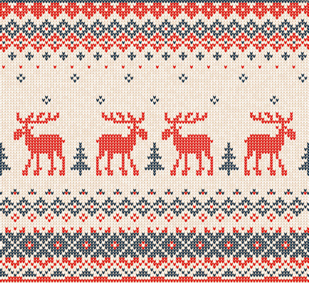 christmas elk: Vector illustration Scandinavian or Russian flat style knitted pattern with deers (elks, mooses) and Christmas Tree