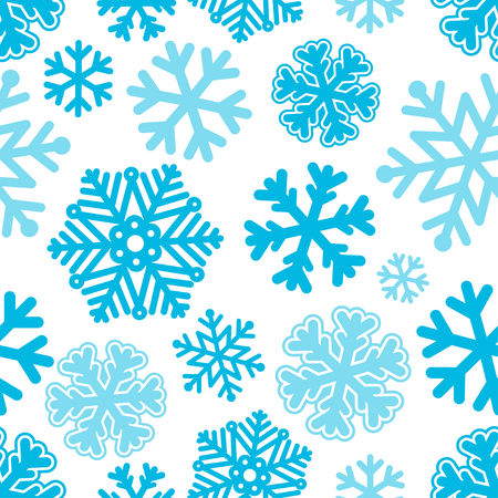 schneeflocke: Vector illustration Festive Christmas and New Year seamless snowflakes pattern. Blue and white. Flat style