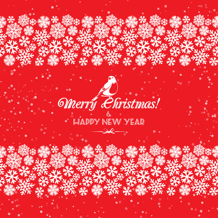 border: Vector illustration Festive Christmas and New Year seamless snowflakes borders. Red and white. Flat style Illustration