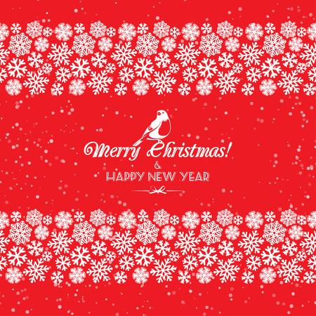 schneeflocke: Vector illustration Festliche Weihnachten und Neujahr nahtlose Schneeflocken Grenzen. Rot und weiß. Wohnung Stil Illustration