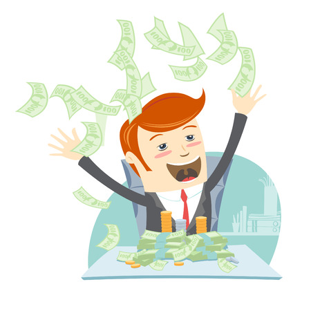 throwing: Vector illustration Happy office man hipster sitting at the table and throwing money Illustration