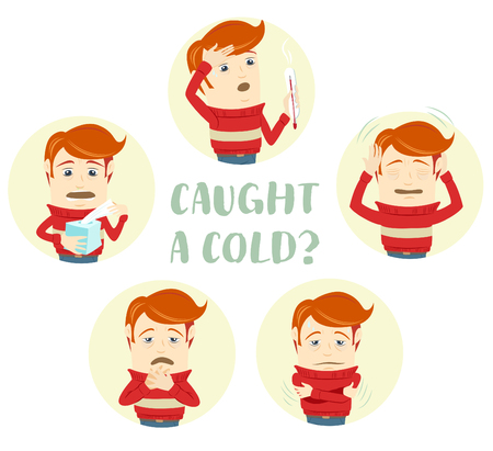 Vector illustration A set of characters with the symptoms of the common cold: cough, sore throat, headache, runny nose, fever, high temperature. Flat style