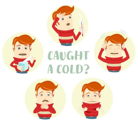 Vector illustratie Een set van tekens met de symptomen van de verkoudheid: hoesten, keelpijn, hoofdpijn, loopneus, koorts, hoge temperatuur. Vlakke stijl