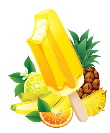 popsicle: Vector illustration Tropical fruits banana, pineapple, orange, lemon, popsicle Ice-cream. Summer flavor Illustration