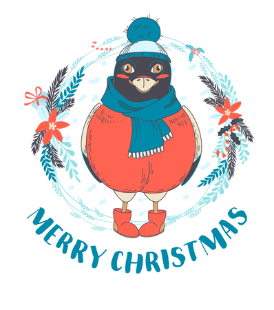 winter tree: Vector illustration Festive Funny Merry Christmas card with bullfinch bird wearing cap, boots and scarf in front of New Year wreath. Hand drawn doodle style