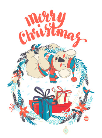 Vector illustration Funny Merry Christmas card with koala wearing cute sweater and hanging on decorated wreath. Hand drawn doodle style