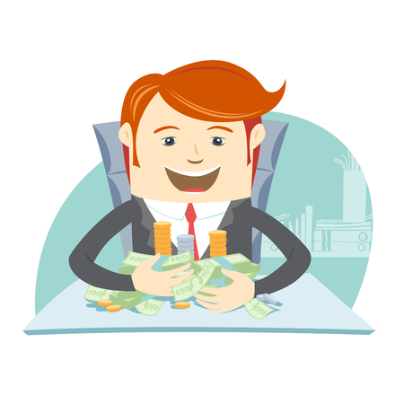 happy office: Vector illustration Happy office man hipster sitting at the table and hugging money