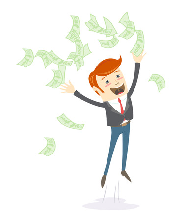 happy office: Vector illustration Happy office man hipster  throwing money