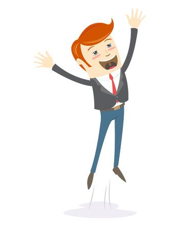 Ilustración vectorial Hombre feliz oficina inconformista salto