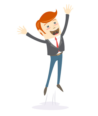 happy young: Vector illustration Happy office man hipster jumping Illustration