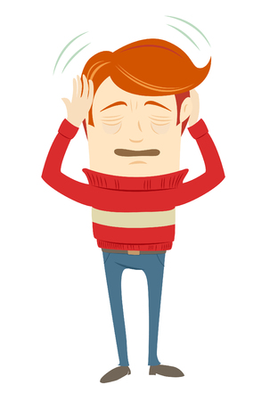 migraine: Vector illustration Frustrated hipster character suffering from a headache wearing sweater. Flat style