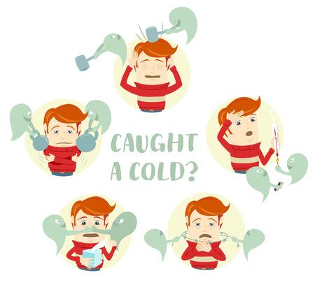 personas enfermas: Ilustraci�n vectorial Un conjunto de caracteres con los s�ntomas del resfriado com�n: tos, dolor de garganta, dolor de cabeza, secreci�n nasal, fiebre, alta temperatura. Estilo Flat Vectores