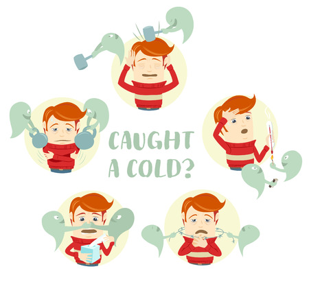in common: Vector illustration A set of characters with the symptoms of the common cold: cough, sore throat, headache, runny nose, fever, high temperature. Flat style