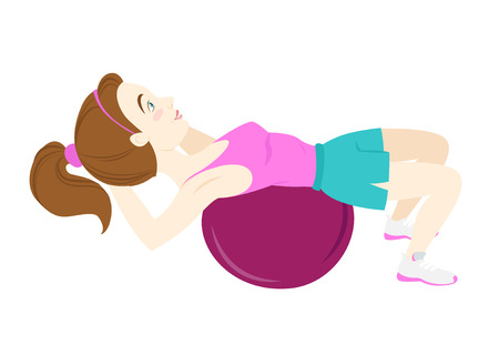 cartoon yoga: Vector illustration Cute fitness woman doing crunches on fitball Illustration
