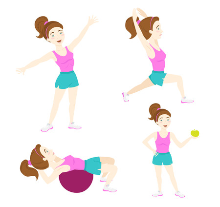 squat: Vector illustration  Set of Cute fitness woman exercising, lunge, warrior yoga pose, crunches on fitball, standing with apple